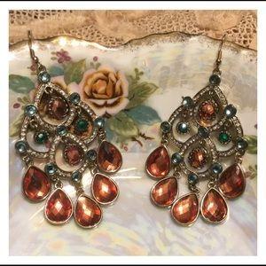 Adorable Rhinestone Pink Gem Hook Style Earrings